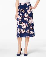 NY Collection Floral-Print Midi Skirt
