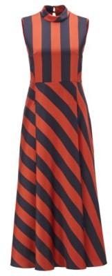 HUGO BOSS Crinkle Crepe Maxi Dress With Block Stripe - Patterned