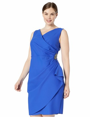 Alex Evenings Women's Plus Size Short Side Ruched Stretch Dress