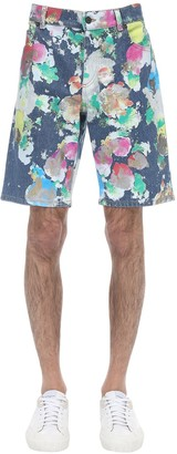 Moschino Color Paint Printed Denim Shorts