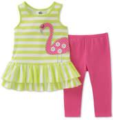 Kids Headquarters 2-Pc. Flamingo Tunic & Leggings Set, Baby Girls