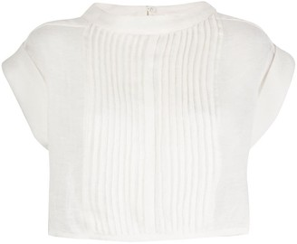 Le Kasha Zifta pleated bib blouse