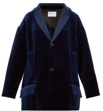 Toga Single Breasted Velvet Jacket - Womens - Navy