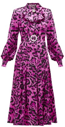 Alessandra Rich Crystal-buckle Leopard-print Silk Midi Dress - Womens - Pink Print