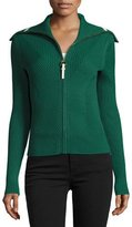 Tory Burch Noland Zip-Front Ribbed Cardigan, Norwood
