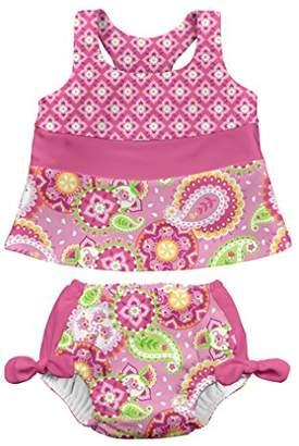 I Play I-Play Tankini Set with Swim Diaper, 12 to 18 Months, Light Pink Paisley Elephant