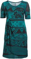 Glam Teal & Black Geometric Gathered Empire-Waist Dress - Plus