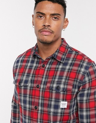 ONLY & SONS check overshirt in red