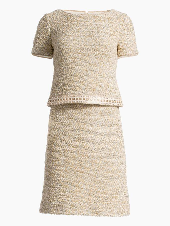 St. John Gilded Eyelash Knit Short Sleeve Dress