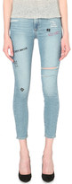 Paige Hoxton embroidered skinny high-rise jeans