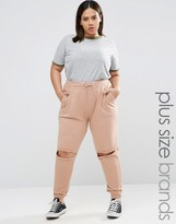 Missguided Plus Exclusive Distressed Knee Track Pants