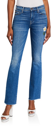 Mother The Weekender Frayed Boot-Cut Jeans with Flower