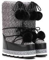 Dolce & Gabbana Fur-trimmed Herringbone Platform Snow Boots