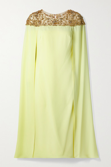 Marchesa Notte Cape-effect Embellished Tulle And Crepe Midi Dress - Pastel yellow