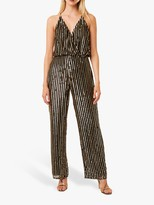 French Connection Celina Sequin Striped Jumpsuit, Black/Gold