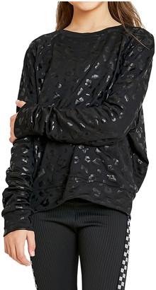 Terez Girl's Foiled Cheetah-Print Crewneck Sweatshirt, Size 4-6X