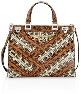 Gucci Zumi Snakeskin Medium Top Handle Bag