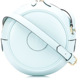 Lanvin Logo Embossed Round Crossbody Bag