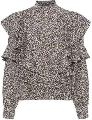 Vero Moda Ditsy Print Ruffle Blouse - XS | polyester