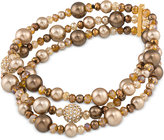 Carolee Gold-Tone Brown Imitation Pearl and Pavé Stretch Bracelet
