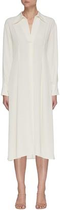 Vince Drape Collar Front Pleat Crepe Midi Dress