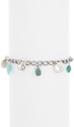 Chan Luu Sterling Silver Turquoise Dangle Charm Bracelet