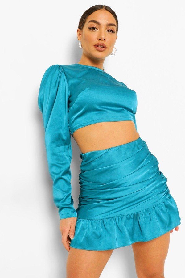 Thumbnail for your product : boohoo Satin Blouse and Ruched Frill Mini Skirt Co-ord