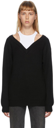 alexanderwang.t Black and White Bi-Layer Off-The-Shoulder Sweater