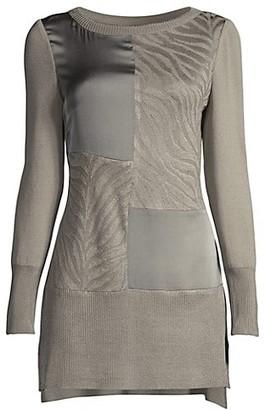 Misook Charmeuse & Knit Sweater Dress