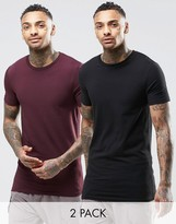 Asos 2 Pack Longline Muscle T-Shirt In Black/Oxblood