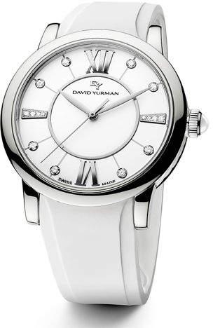 David Yurman 34mm Ceramic Diamond Watch w/Rubber Strap