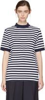 Blue Blue Japan Indigo and White Striped Mock Neck T-shirt