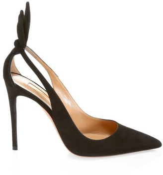 Aquazzura Bow Tie Cutout Suede Pumps