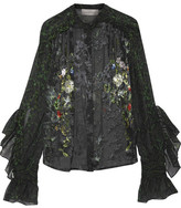 Preen by Thornton Bregazzi Rosie Printed Devoré Silk-chiffon Blouse - Emerald