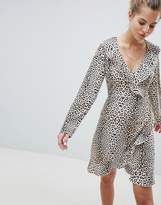 Wednesday's Girl Wrap Dress With Ruffles In Leopard Print
