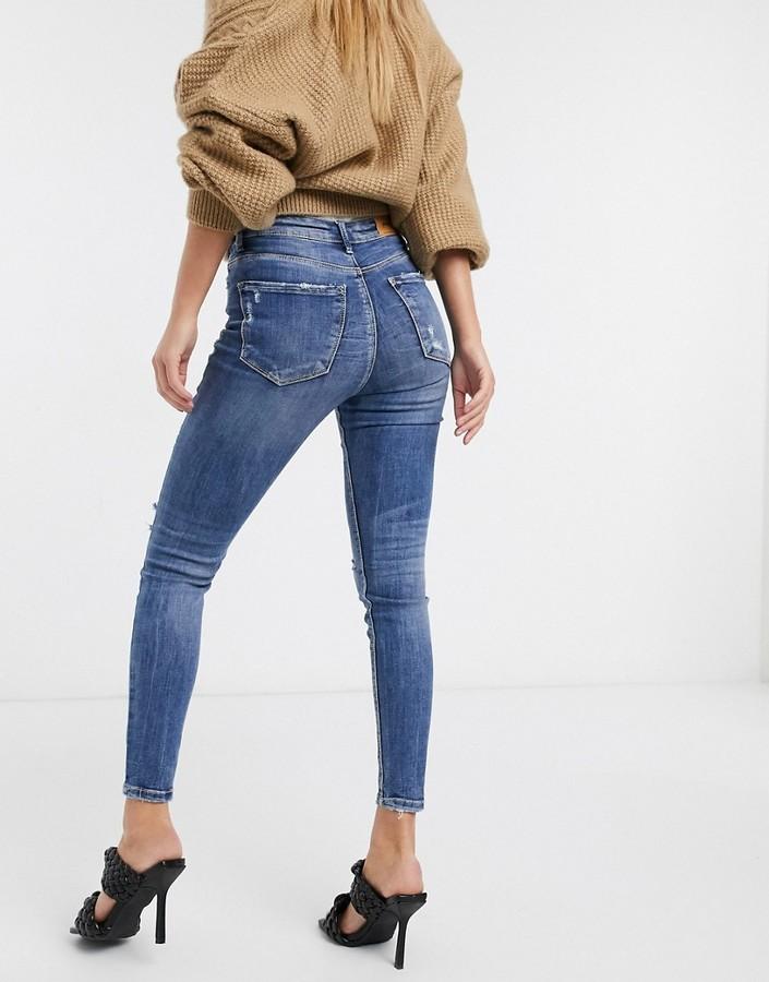 Thumbnail for your product : Stradivarius high waist skinny jean in medium wash