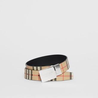 Burberry Reversible Plaque Buckle Vintage Check E-canvas Belt