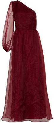 True Decadence Burgundy One Shoulder Tulle Maxi Dress