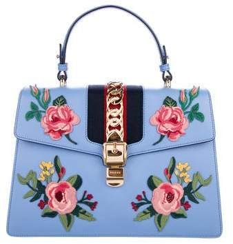Gucci Medium Embroidered Sylvie Top Handle Bag