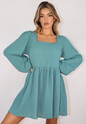Missguided Shirred Textured Smock Dress