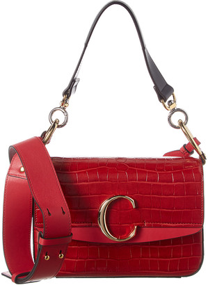 Chloé C Small Croc-Embossed Leather Shoulder Bag