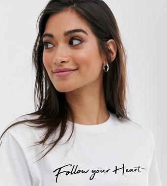 Asos DESIGN Petite t-shirt with follow your heart motif-White