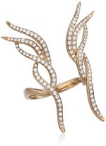As 29 AS29 Women's 18ct Pink Gold Round White Diamonds Butterfly Rainbow Ring - Size M
