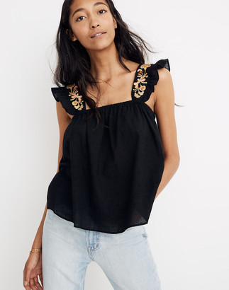 Madewell Embroidered-Strap Swing Top