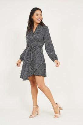 Yumi Black Polka Dot Wrap Dress