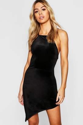 boohoo Petite Velvet High Neck Asymmetric Bodycon Dress