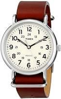 Timex Unisex T2P495 Weekender 40 Brown Leather Slip-Thru Strap Watch