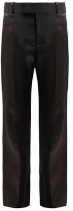 Haider Ackermann Calder High-rise Silk-satin-trimmed Wool Trousers - Womens - Black