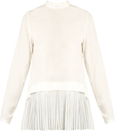 Muveil Pleated-panel long-sleeved cotton top