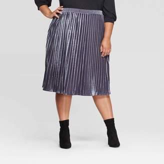 Ava & Viv Women's Plus Size Velour Pleated Midi Skirt - Ava & VivTM